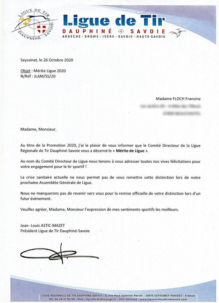 Lettre du 26 Octobre 2020 de la Ligue Régionale de Tir Dauphiné Savoie